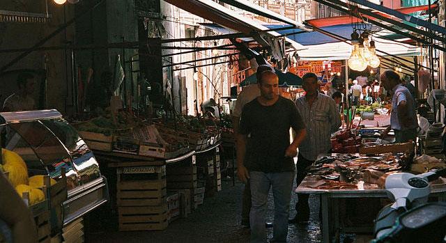 Fiskmarknad i Palermo. Sicilien.