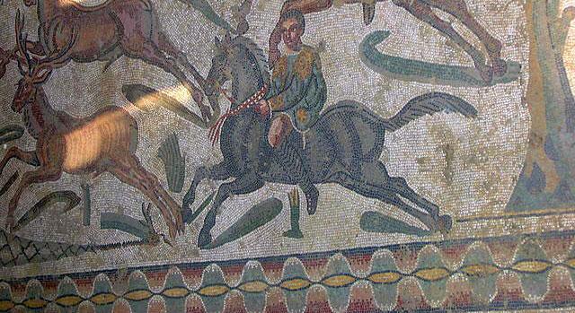 Mosaik, romerska villan vid Piazza Armerina. Sicilien.